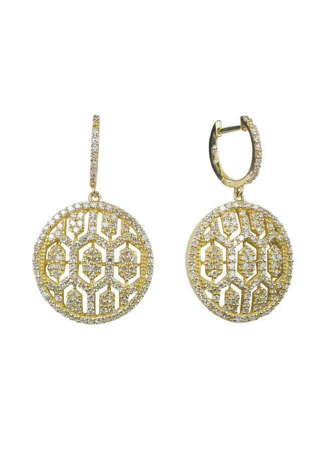 Effy D'Oro 14K Yellow Gold Diamond Maze Earrings, 1.35 TCW