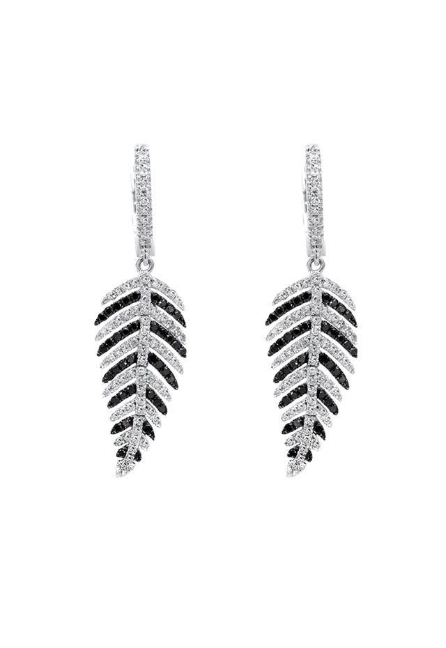 Effy 14K White Gold Black and White Diamond Earrings, 1.05 TCW