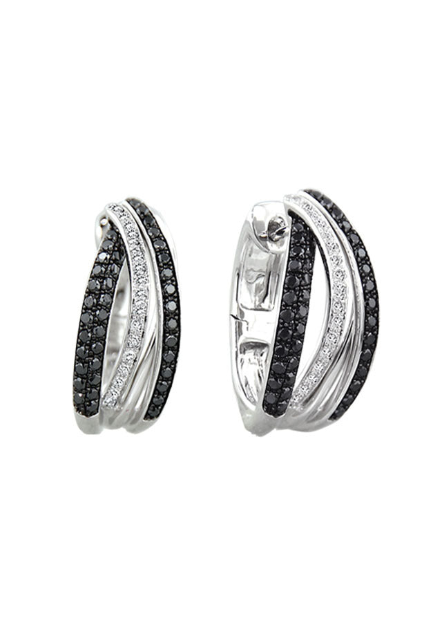 Effy 14K White Gold Black and White Diamond Earrings, .71 TCW