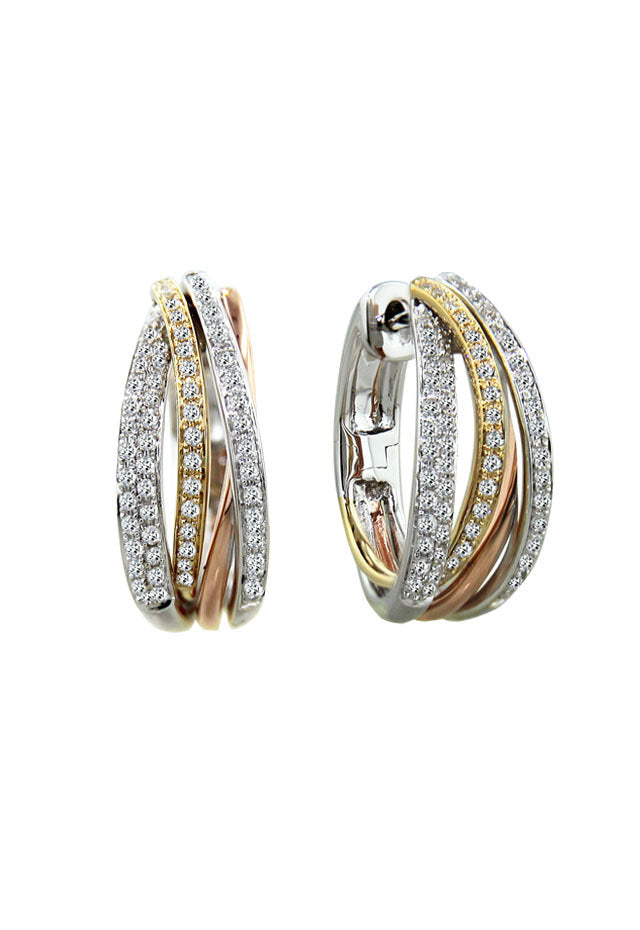Effy Trio 14K Tri Color Diamond Earrings, .52 TCW