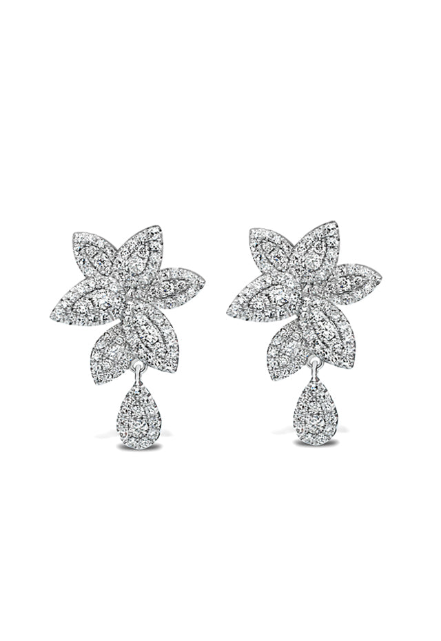 Effy 14K White Gold Diamond Pave Leaf Shap Earrings, 0.99 TCW
