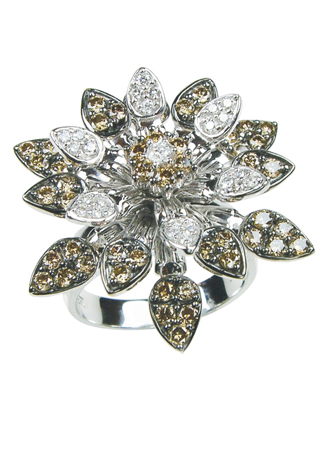 Effy Jardin 14K White Gold Cognac and White Diamond Flower Ring, 1.73 TCW