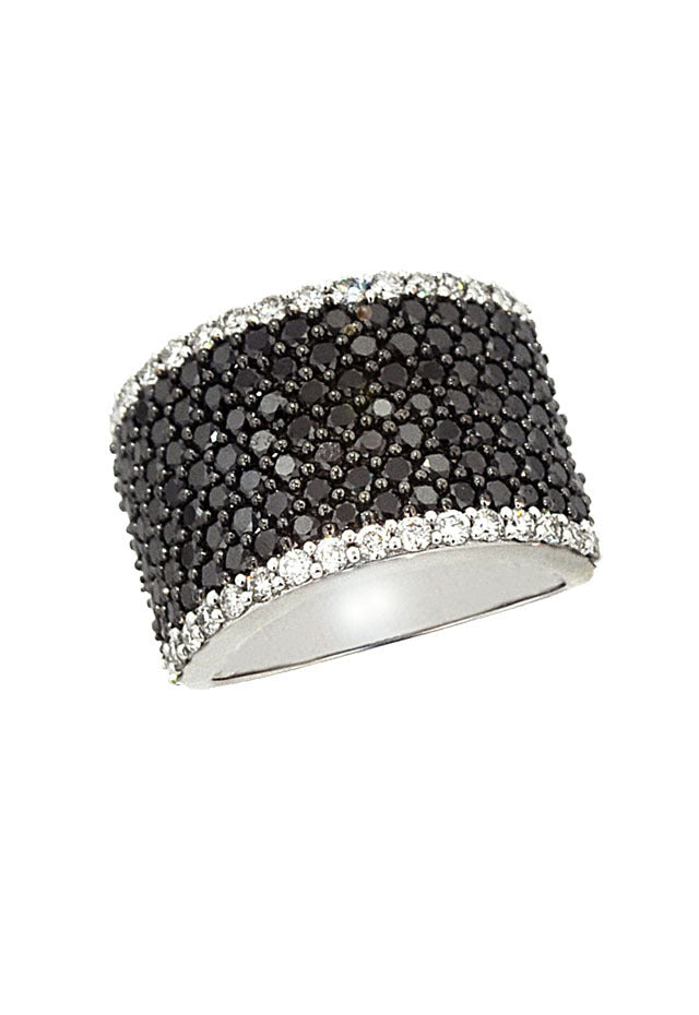 Effy 14K White Gold Black and White Diamond Ring, 2.74 TCW