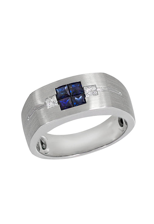 Effy Men's White Gold Blue Sapphire & Diamond Ring, .96 TCW