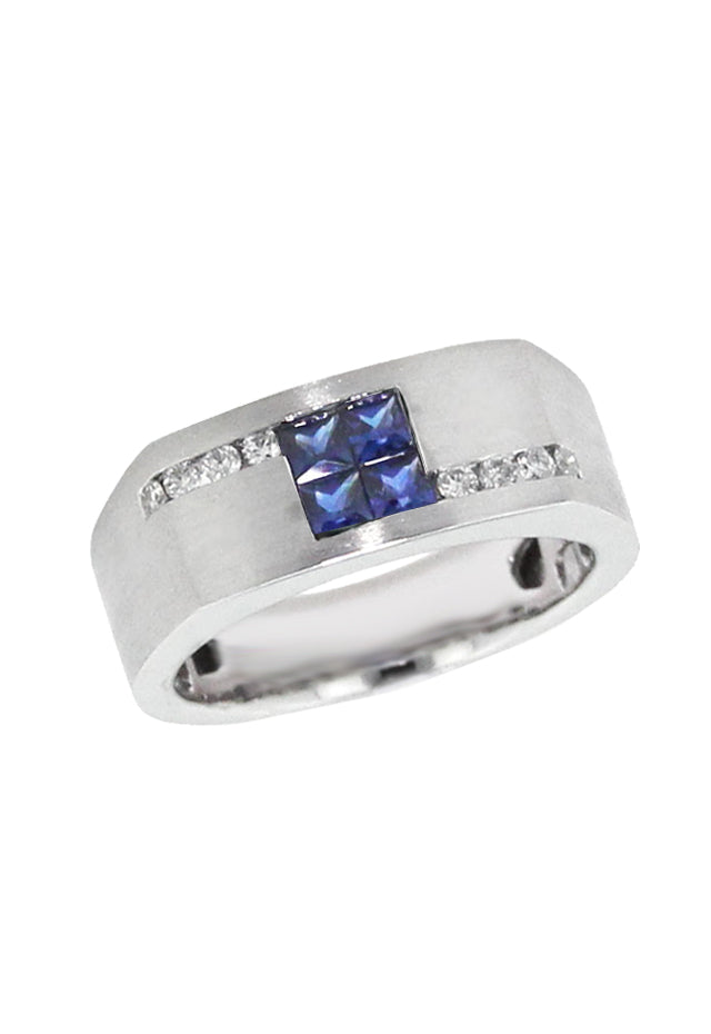 Effy Men's Sapphire and Diamond Ring, 0.98 TCW