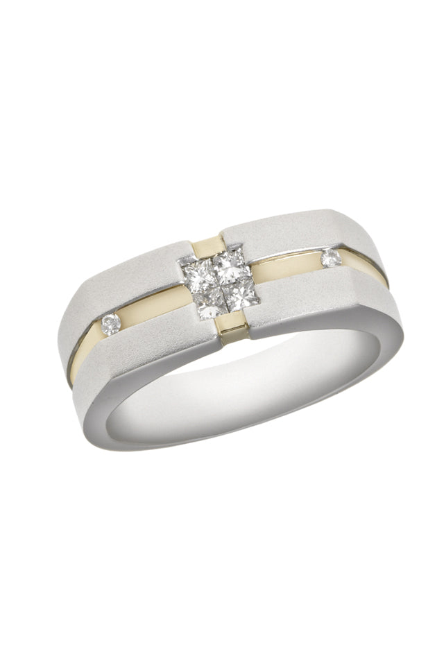 Effy Men's Two Tone Gold and Diamond Ring, 0.35 TCW