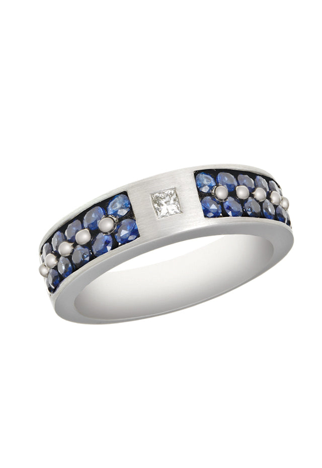 Effy Men's 14K White Gold Blue Sapphire and Diamond Ring, 1.69 TCW