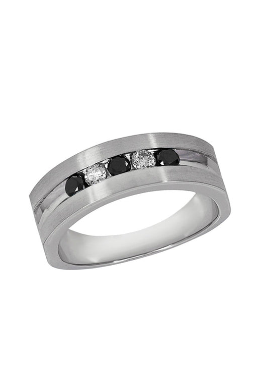 Effy Men's 14K White Gold Black and White Diamond Ring, 0.49 TCW