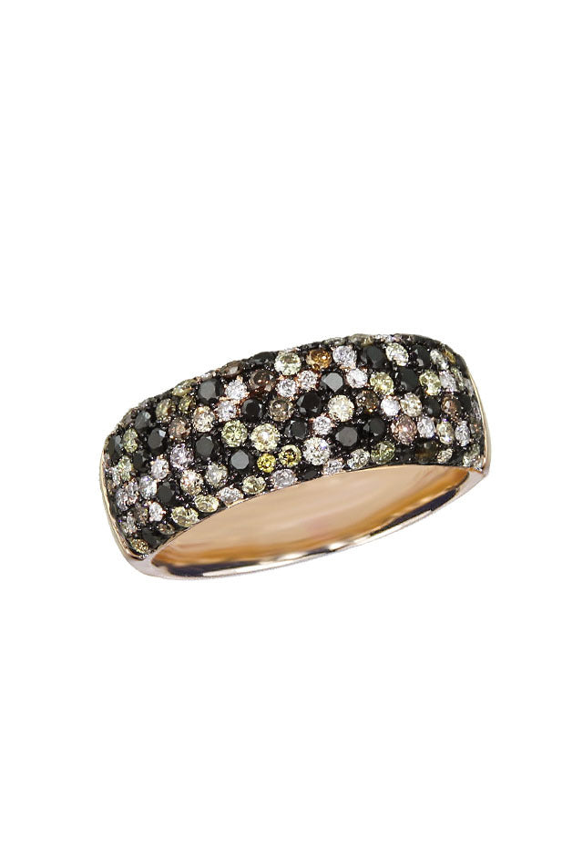 Prism Confetti Cognac and Black Diamond Ring, 1.23 TCW