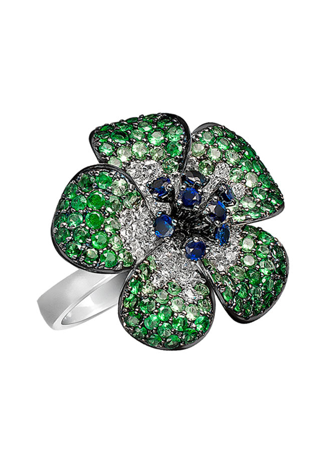 Effy Jardin 14K White Gold Multi Gemstone & Diamond Flower Ring, 3.67 TCW