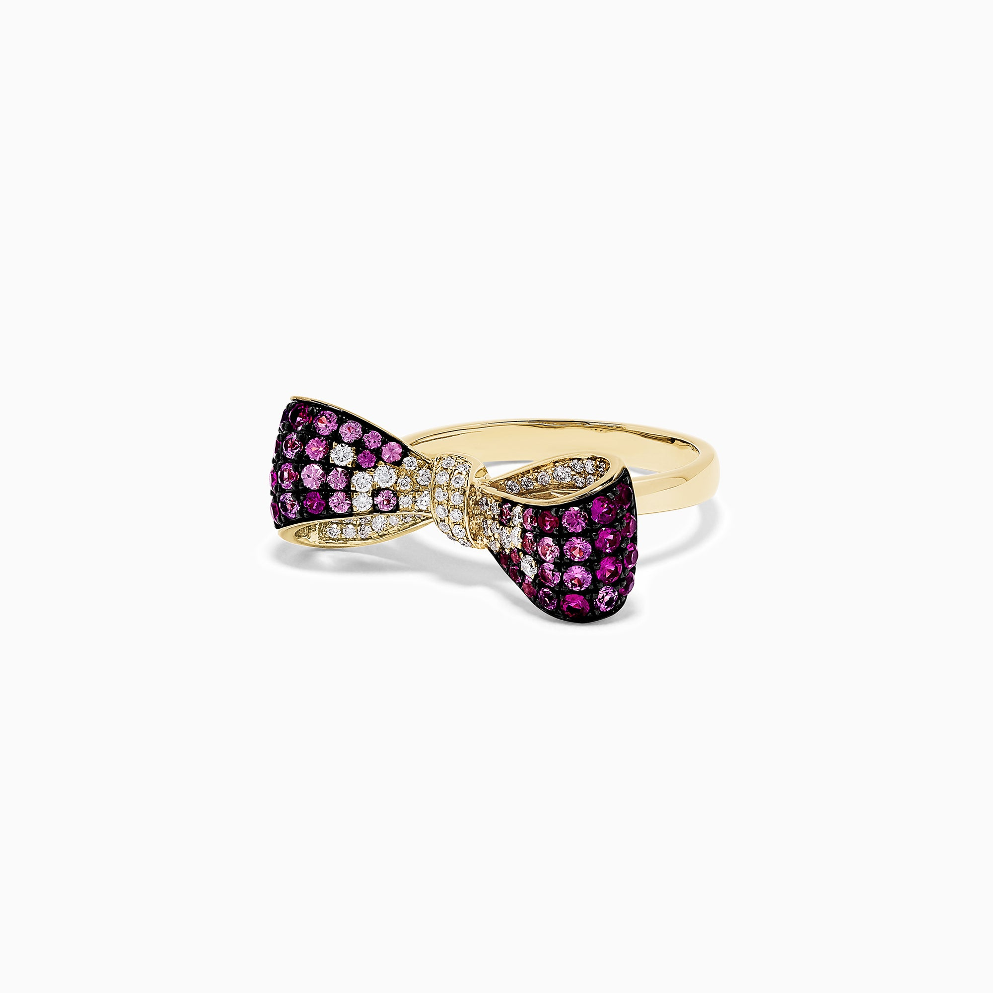 Effy 14K Yellow Gold Pink Sapphire and Diamond Bow Ring, 1.15 TCW