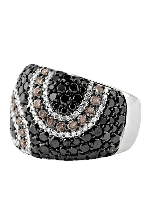 Effy 14K White Gold Black, Cognac and White Diamond Ring, 3.29 TCW