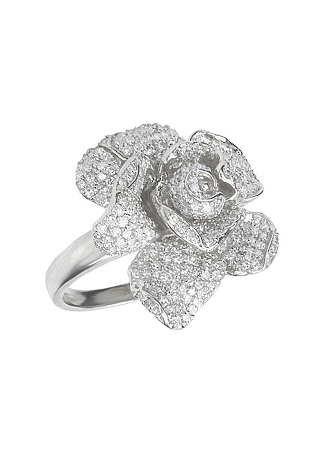 Effy 14K White Gold Diamond Flower Ring, 1.10 TCW