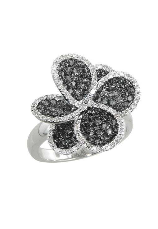 Effy 14K White Gold Black and White Diamond Flower Ring, 2.29 TCW