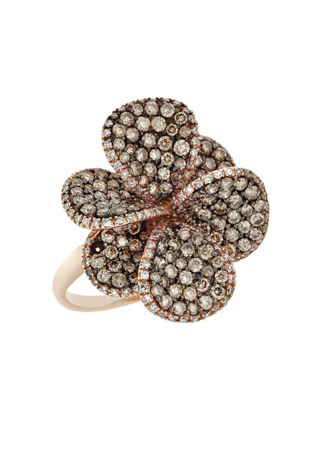 Jardin Bloom Cognac and White Diamond Ring, 2.29 TCW