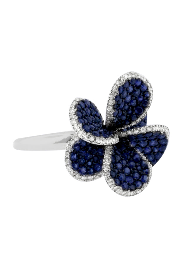 Effy 14K White Gold Blue Sapphire and Diamond Flower Ring, 2.24 TCW