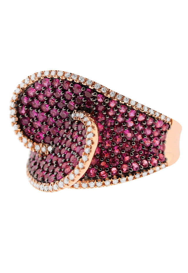Gemma Rose Gold Ruby and Diamond Ring, 2.64 TCW