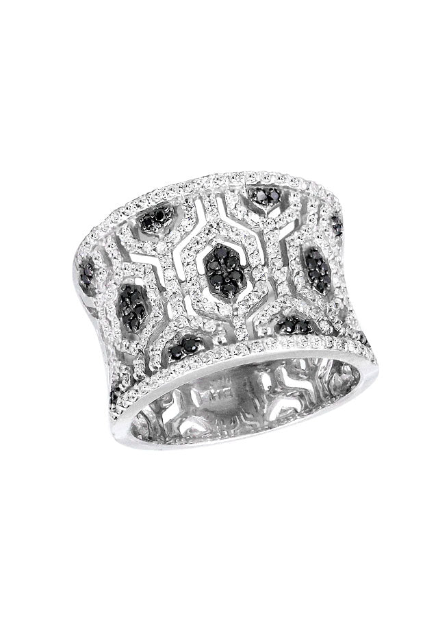 Effy 14K White Gold Black and White Diamond Maze Ring, 0.79 TCW