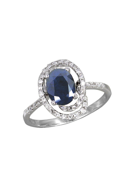 Effy 14K White Gold Blue Sapphire and Diamond Ring, 1.64 TCW