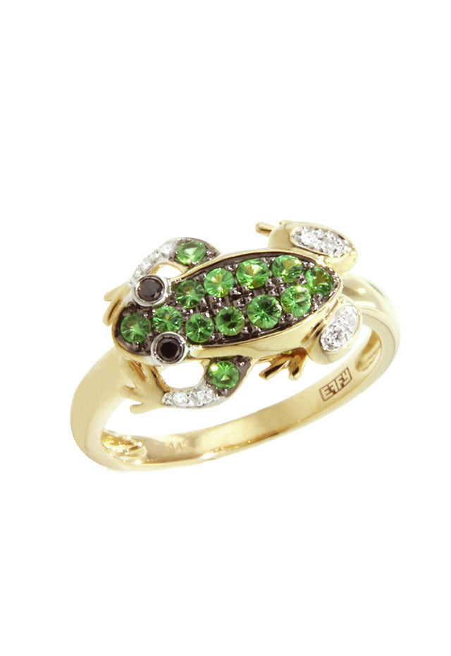 Effy Safari 14K Yellow Gold Tsavorite and Diamond Frog Ring, 0.32 TCW