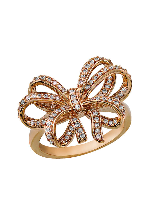 Pave Classica 14K Rose Gold Diamond Bow Ring, .45 TCW