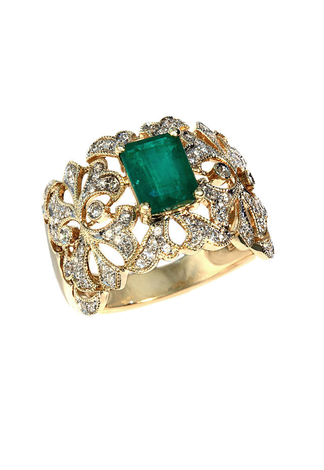 Gemma Emerald and Diamond Filigree Ring, 1.78 TCW