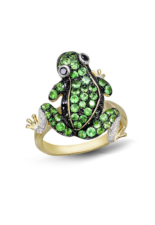 Effy Safari 14K Yellow Gold Tsavorite, Dia. & Sapphire Frog Ring, 1.45 TCW