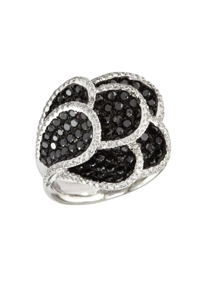 Effy 14K White Gold Black and White Diamond Ring, 2.26 TCW