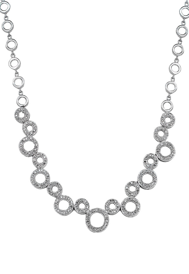 14K White Gold Diamond Necklace, 1.48 TCW