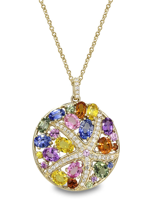 Watercolors Multi Sapphire & Diamond Pendant, 6.8 TCW