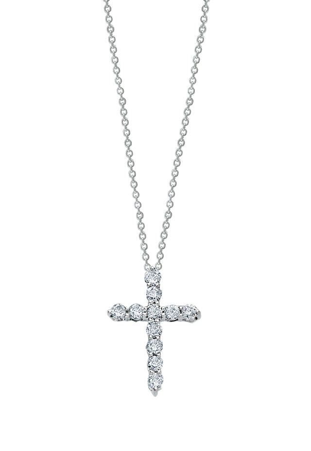 Effy Novelty 14K White Gold Diamond Small Cross Pendant, 0.24 TCW