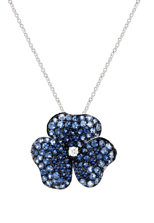 Effy 14K White Gold Sapphire and Diamond Floral Pendant, 3.40 TCW
