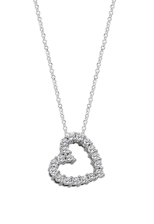Pave Classica White Gold Diamond Heart Pendant, .25 TCW