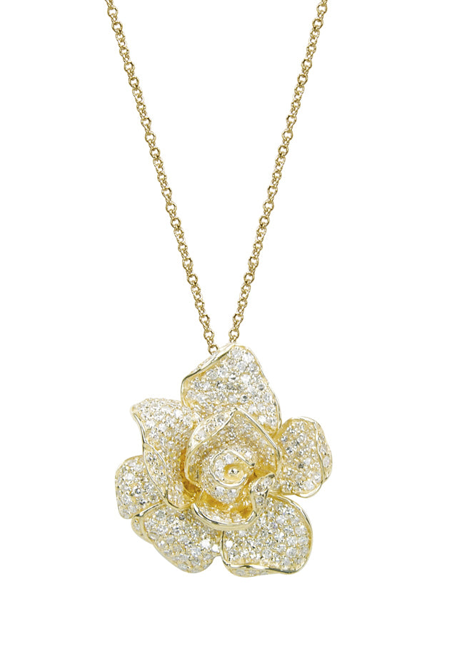 Effy 14K Yellow Gold Diamond Flower Pendant, 1.33 TCW