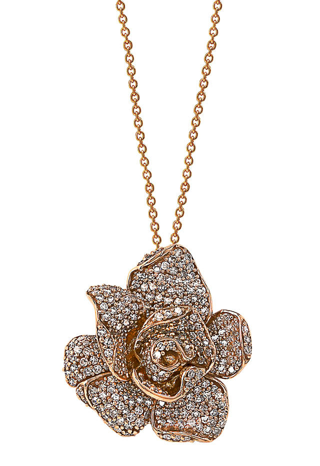 Effy Nature 14K Rose Gold Diamond Flower Pendant, 1.33 TCW