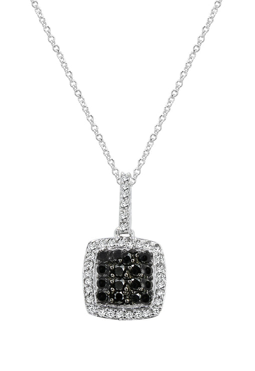 Prism Black Diamond And Diamond Pendant, .58 TCW