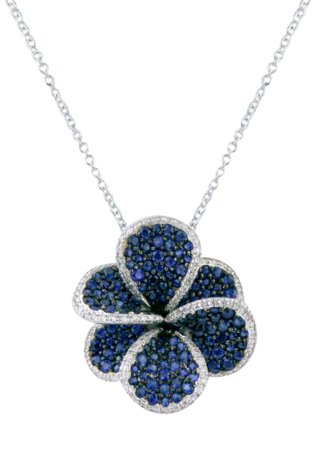 Effy 14K White Gold Blue Sapphire and Diamond Flower Pendant, 2.49 TCW