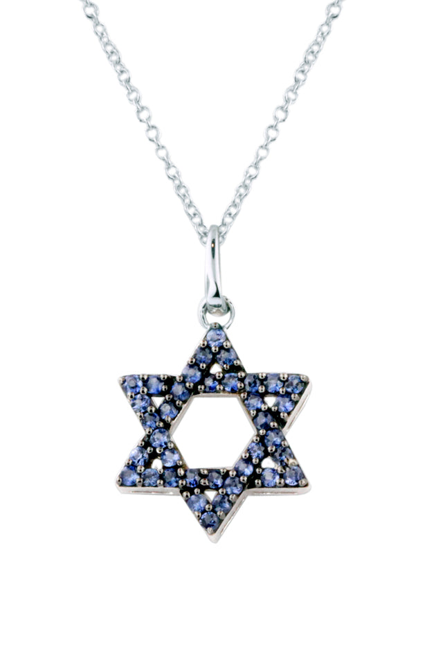 Effy Novelty 14K White Gold Blue Sapphire Star of David Pendant, 0.36 TCW
