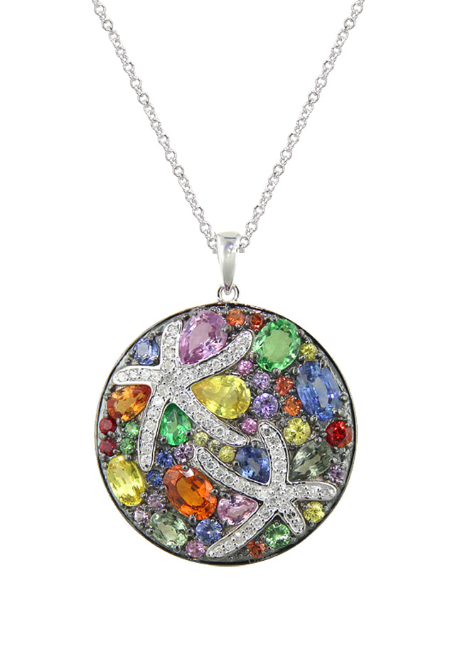 Effy Watercolors 14K White Gold Multi Sapphire & Diamond Pendant, 5.70 TCW