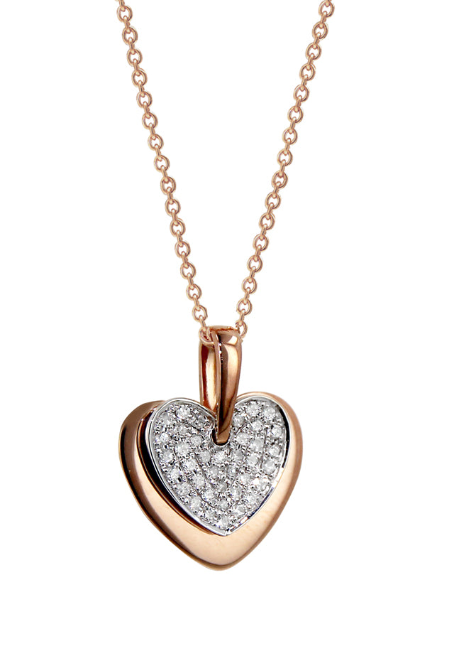 14K Two Tone Gold Diamond Heart Pendant, .13 TCW