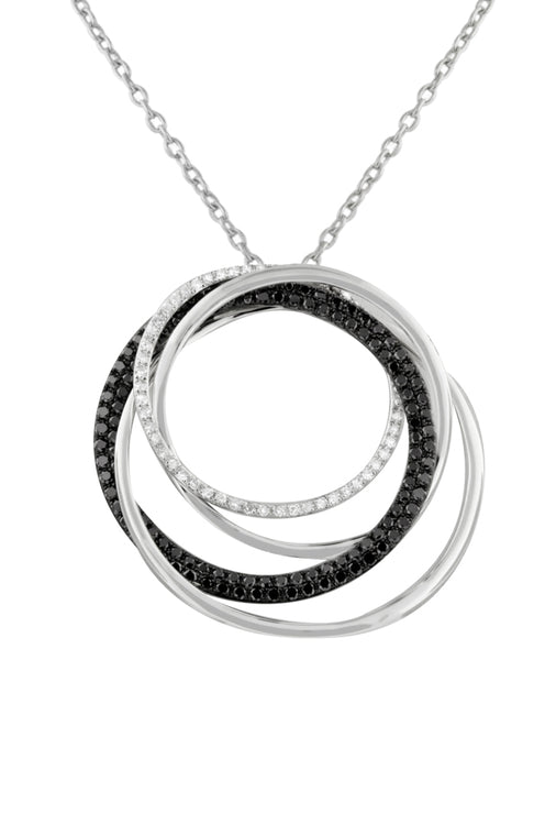 Effy 14K White Gold Black and White Diamond Pendant, 1.06 TCW