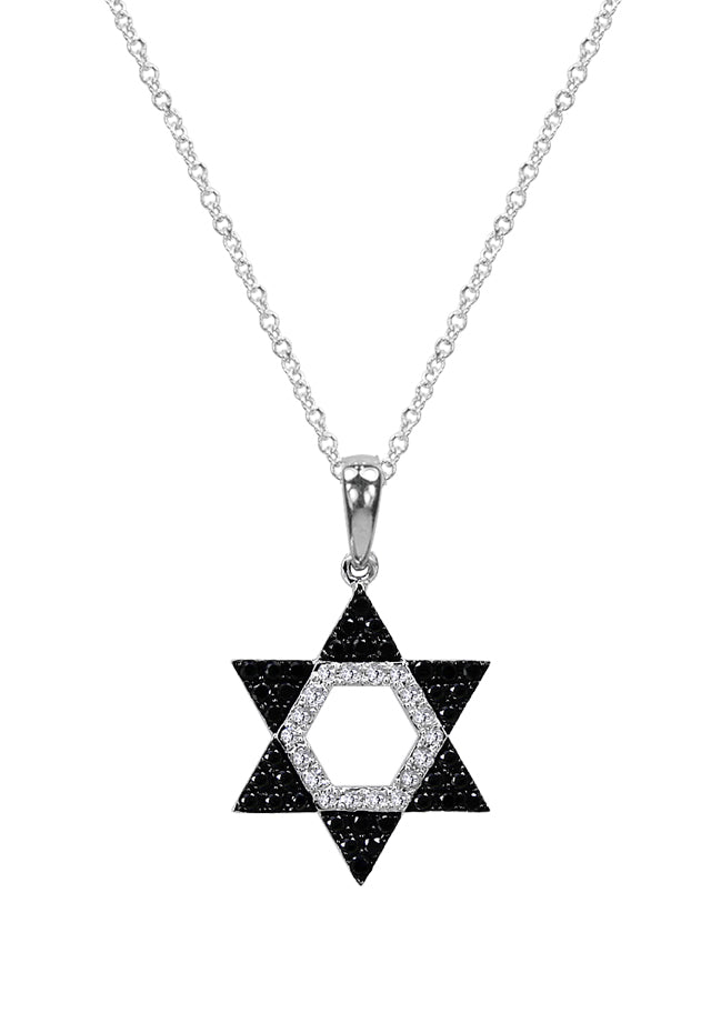 Effy Novelty 14K Gold Black & White Diamond Star of David Pendant, 0.29 TCW