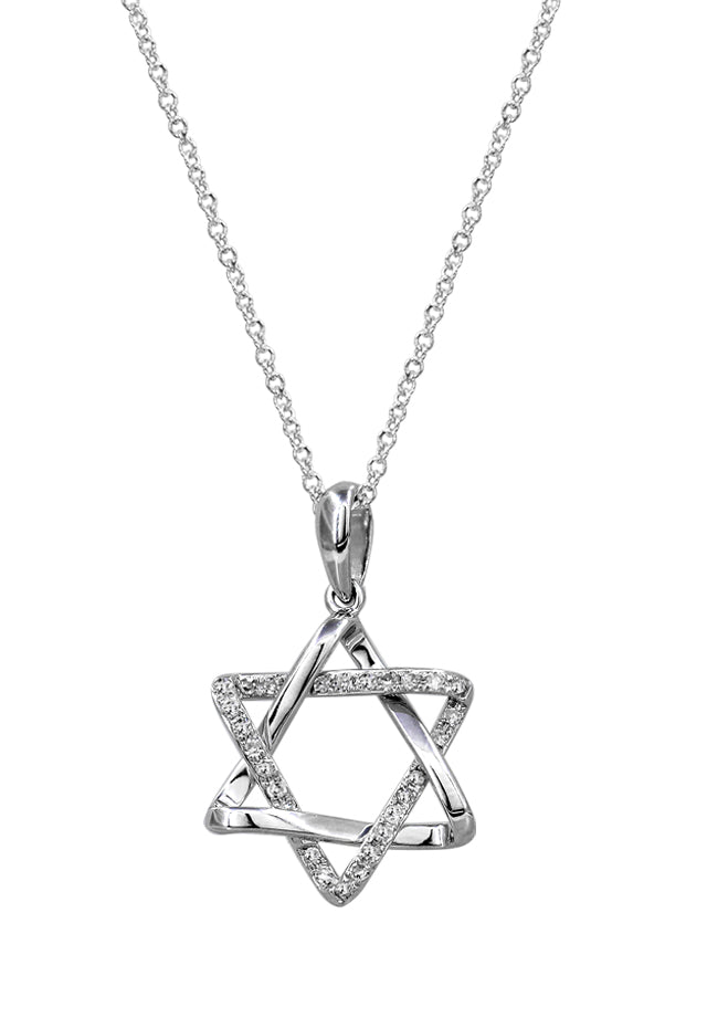 Pave Classica Diamond Star of David Pendant, .12 TCW