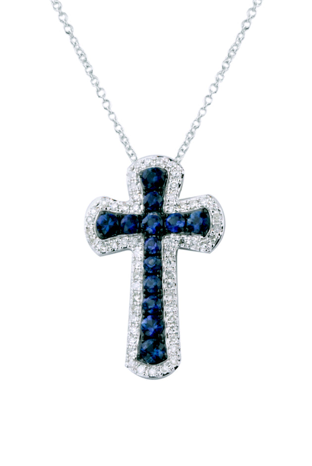 Effy Gemma 14K White Gold Blue Sapphire & Diamond Cross Pendant, 0.91 TCW