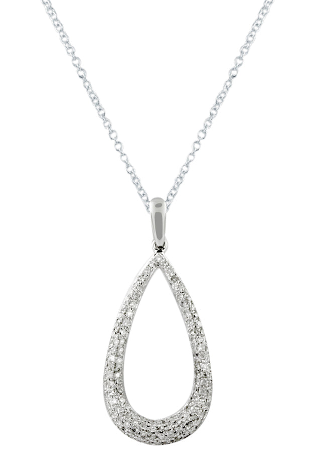 Effy 14K White Gold Diamond Pave Teardrop Pendant, 0.47 TCW