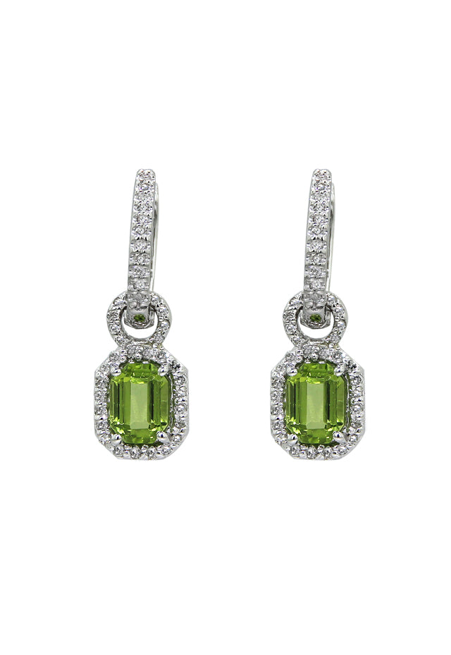 Effy 14K White Gold Peridot and Diamond Earrings, 2.30 TCW