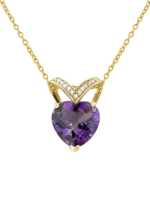 Effy 14K Yellow Gold Amethyst and Diamond Heart Pendant, 4.81 TCW