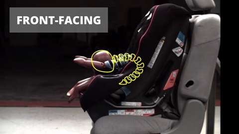 Child front facing in car seat