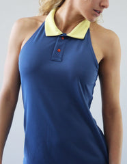 Linky Halter Polo - Blue & Lemon - Angle New York