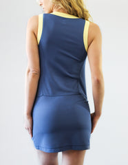Sue Zip-Front Dress- Blue with Lemon Trim